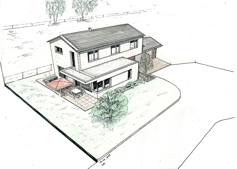 Einfamilienhaus Langerringen Architekt Kraus Außenperspektive