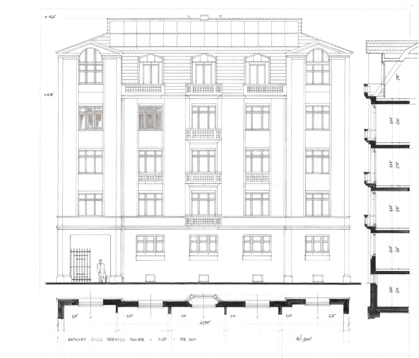 Skizze einer urbanen Fassade im Maßstab 1:50