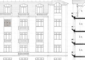 Skizze einer urbanen Fassade